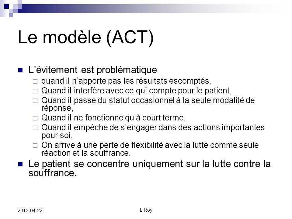 Le modèle (ACT) L'évitement est problématique