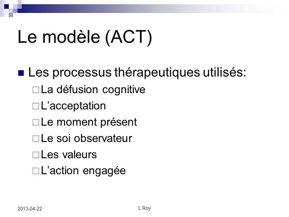 Le modèle (ACT) Les processus thérapeutiques utilisés: