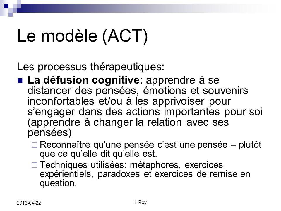 Le modèle (ACT) Les processus thérapeutiques: