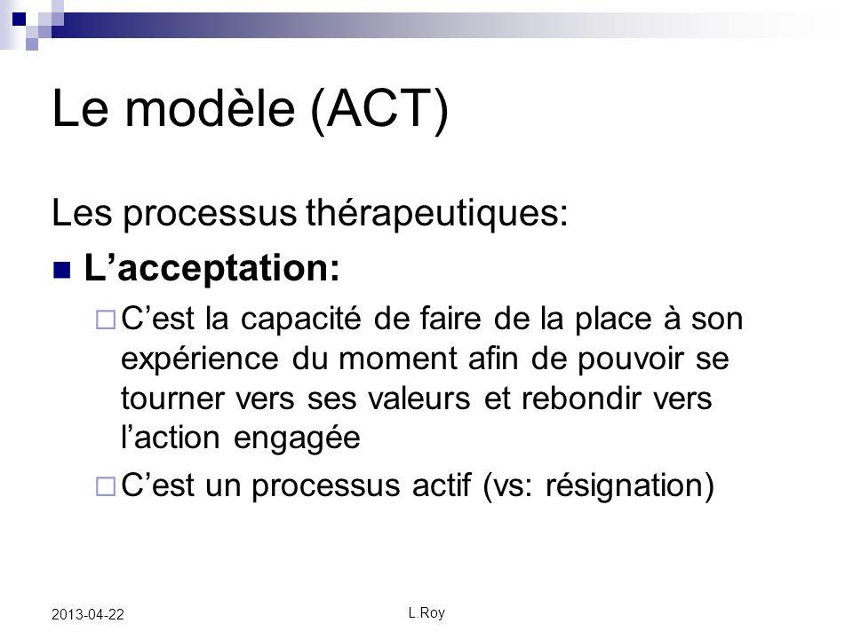 Le modèle (ACT) Les processus thérapeutiques: L'acceptation: