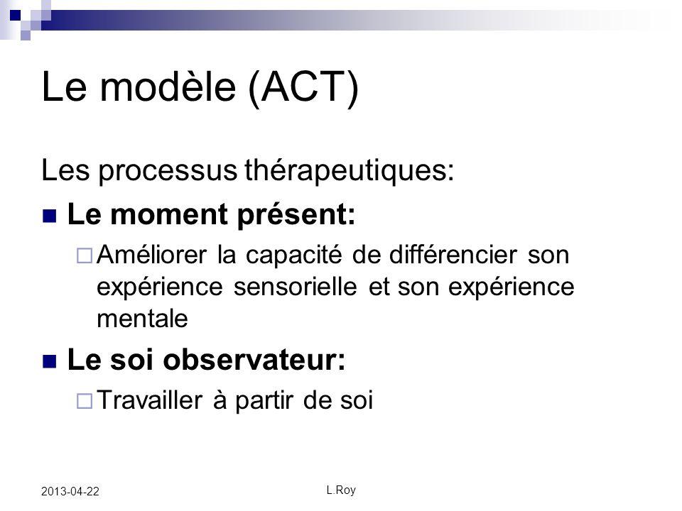 Le modèle (ACT) Les processus thérapeutiques: Le moment présent: