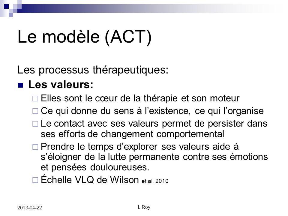 Le modèle (ACT) Les processus thérapeutiques: Les valeurs: