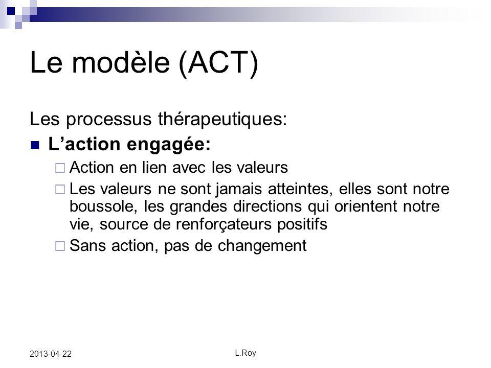 Le modèle (ACT) Les processus thérapeutiques: L'action engagée: