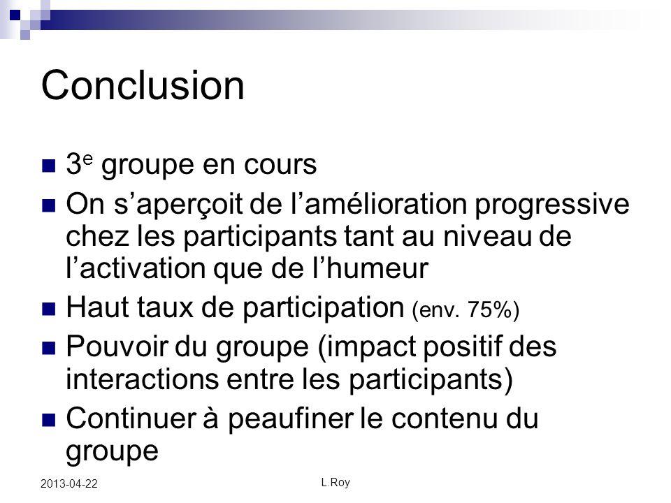 Conclusion 3e groupe en cours