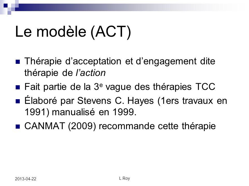 Le modèle (ACT) Thérapie d'acceptation et d'engagement dite thérapie de l'action. Fait partie de la 3e vague des thérapies TCC.