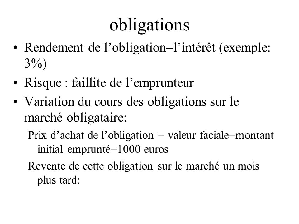 obligations Rendement de l'obligation=l'intérêt (exemple: 3%)