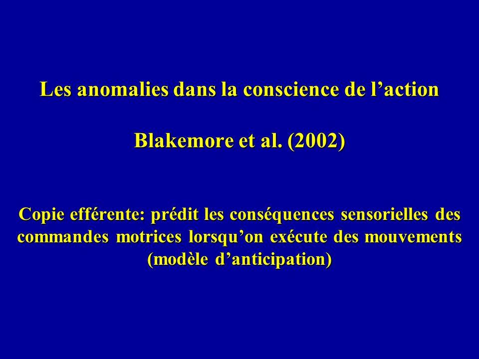 Les anomalies dans la conscience de l'action Blakemore et al. (2002)