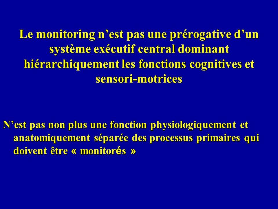 Le monitoring n'est pas une prérogative d'un système exécutif central dominant hiérarchiquement les fonctions cognitives et sensori-motrices