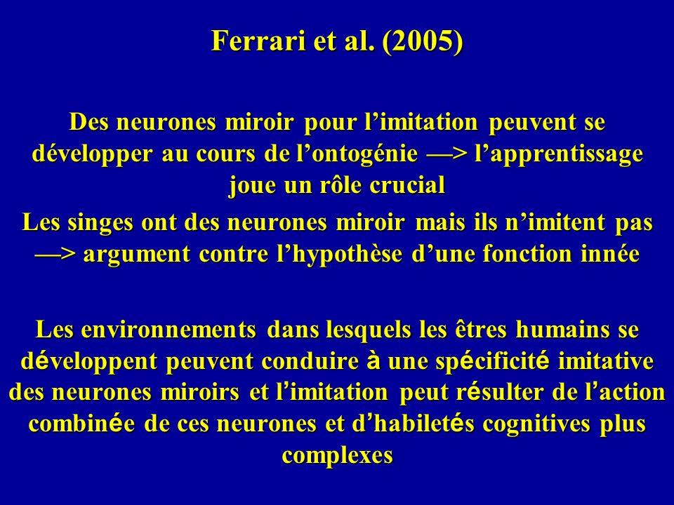 Ferrari et al. (2005) Des neurones miroir pour l'imitation peuvent se développer au cours de l'ontogénie —> l'apprentissage joue un rôle crucial.