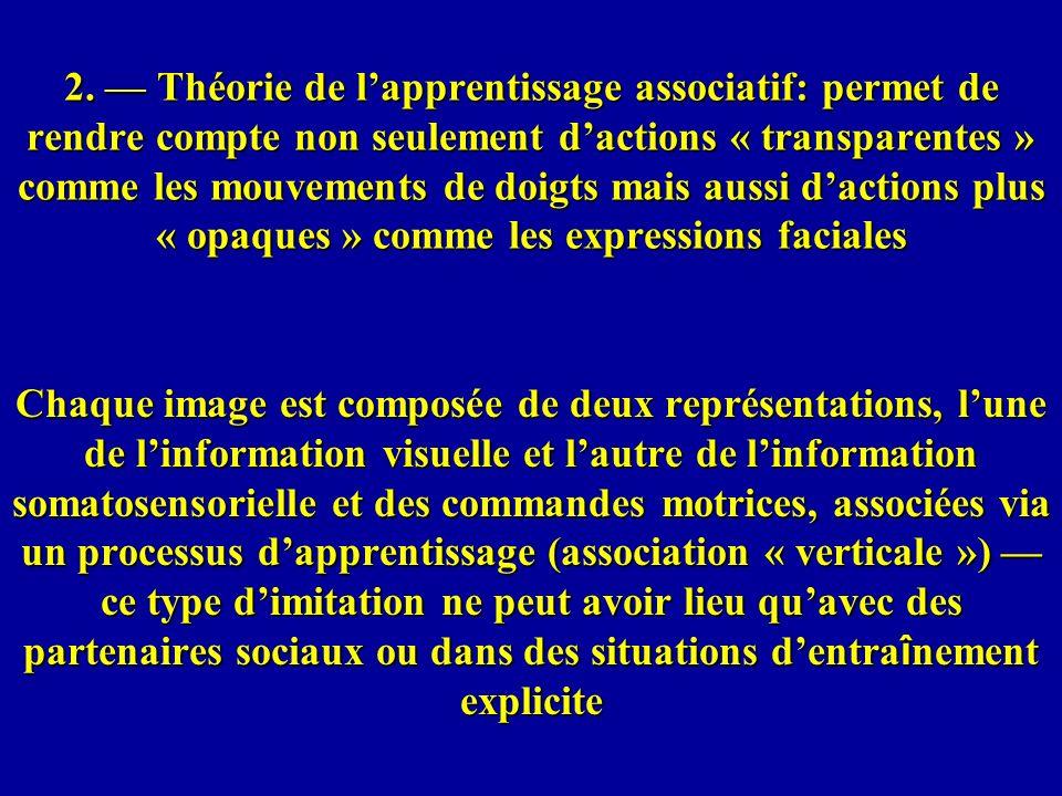 2. — Théorie de l'apprentissage associatif: permet de rendre compte non seulement d'actions « transparentes » comme les mouvements de doigts mais aussi d'actions plus « opaques » comme les expressions faciales