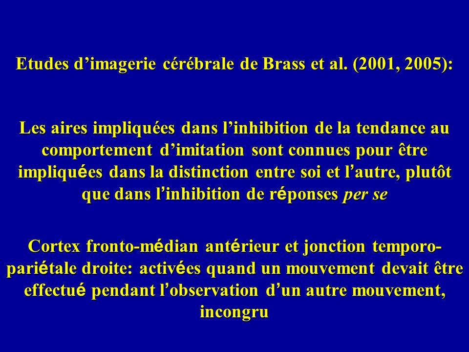 Etudes d'imagerie cérébrale de Brass et al. (2001, 2005):