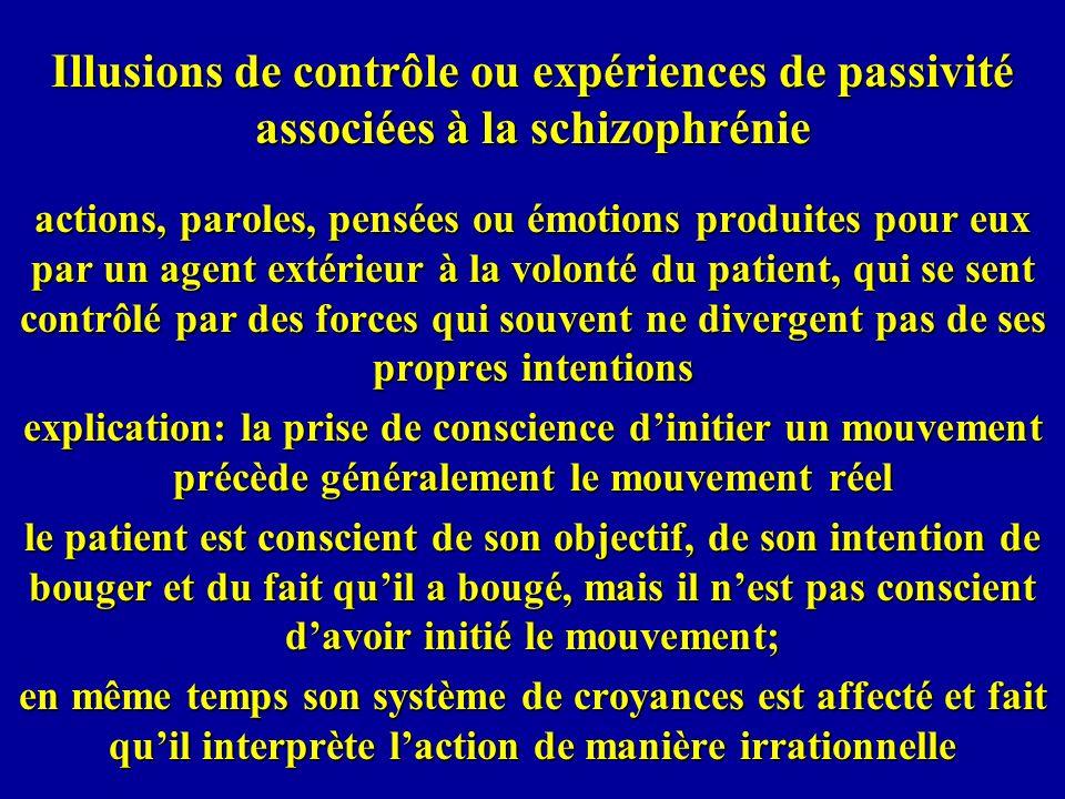 Illusions de contrôle ou expériences de passivité associées à la schizophrénie