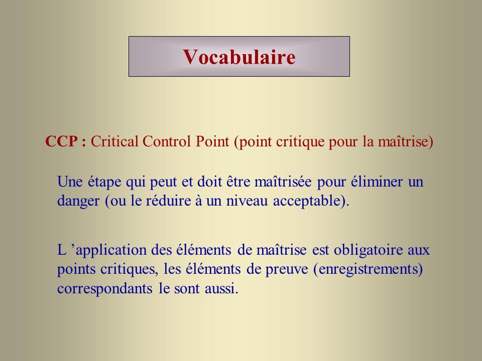 Vocabulaire CCP : Critical Control Point (point critique pour la maîtrise)