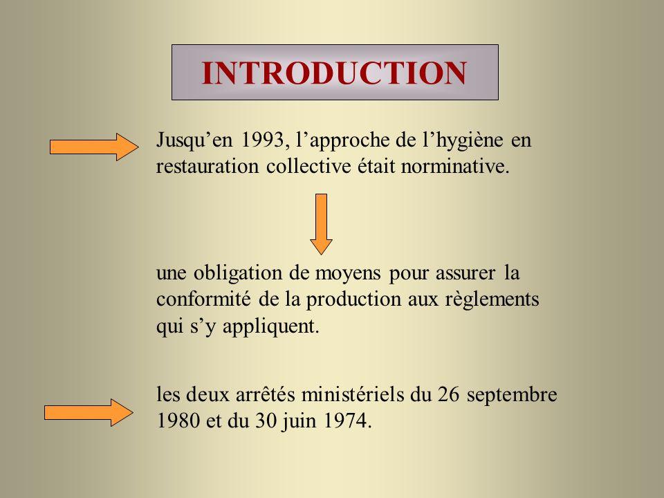 INTRODUCTION Jusqu'en 1993, l'approche de l'hygiène en restauration collective était norminative.