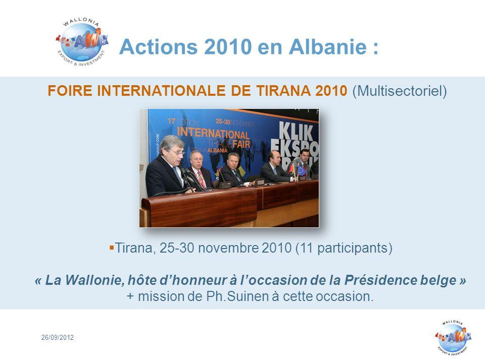 Actions 2010 en Albanie : FOIRE INTERNATIONALE DE TIRANA 2010 (Multisectoriel) Tirana, 25-30 novembre 2010 (11 participants)