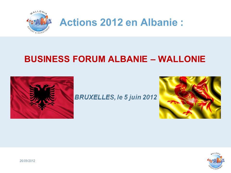 BUSINESS FORUM ALBANIE – WALLONIE