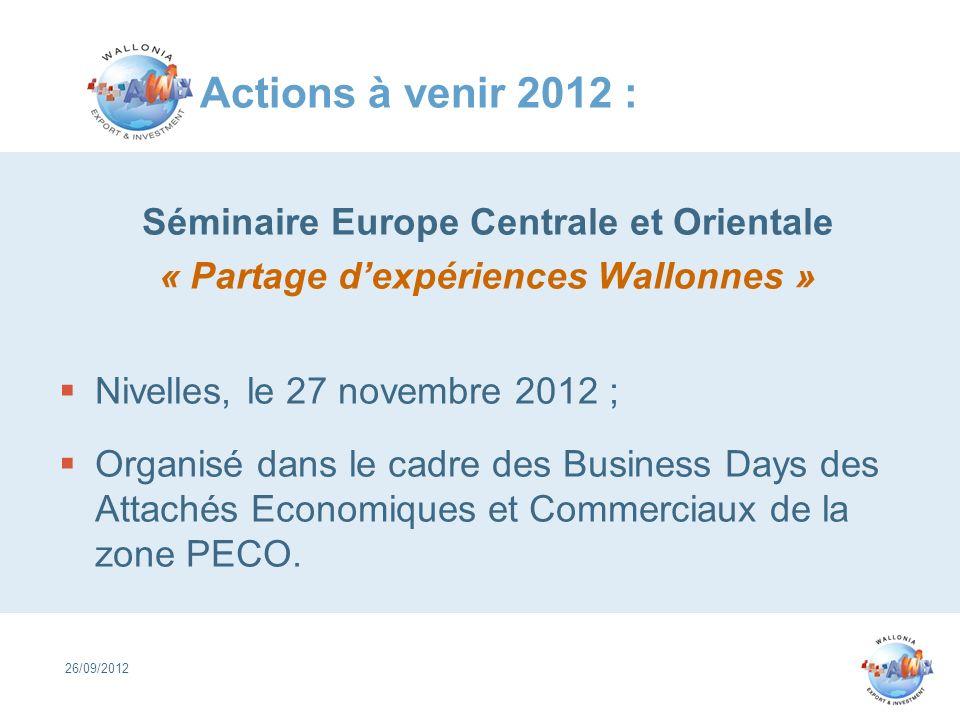 Actions à venir 2012 : Séminaire Europe Centrale et Orientale