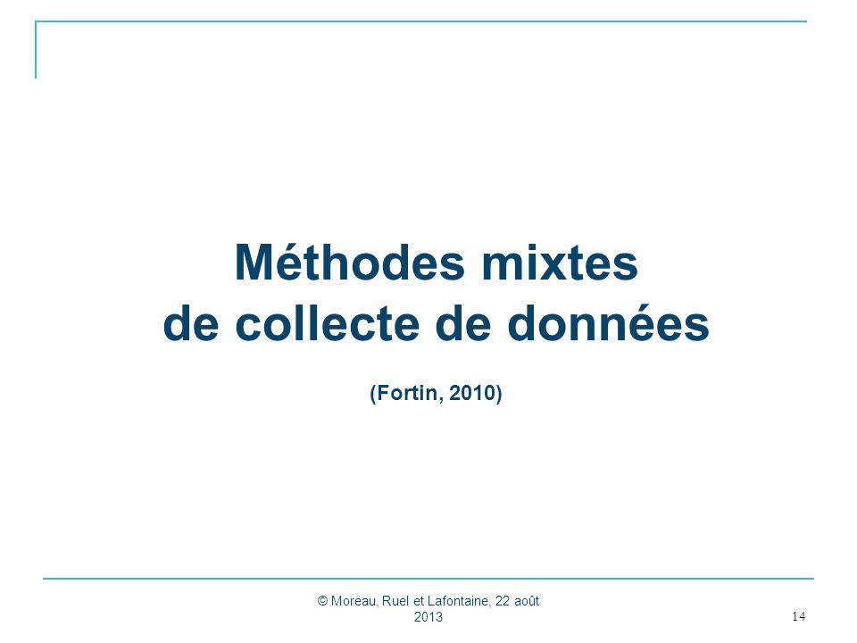 Méthodes mixtes de collecte de données (Fortin, 2010)