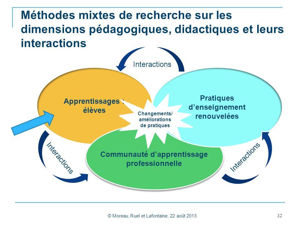 Méthodes mixtes de recherche sur les dimensions pédagogiques, didactiques et leurs interactions