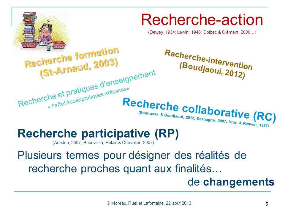 Recherche-action (Dewey, 1934; Lewin, 1946; Dolbec & Clément, 2000…) Recherche formation (St-Arnaud, 2003)