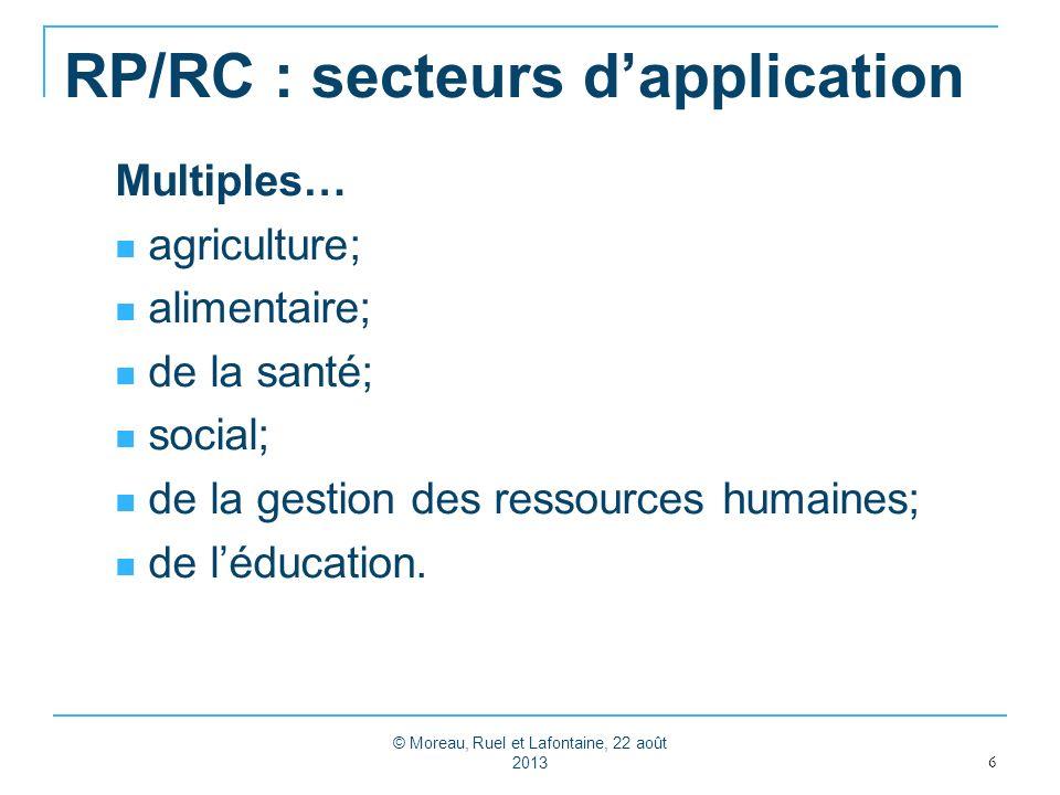 RP/RC : secteurs d'application