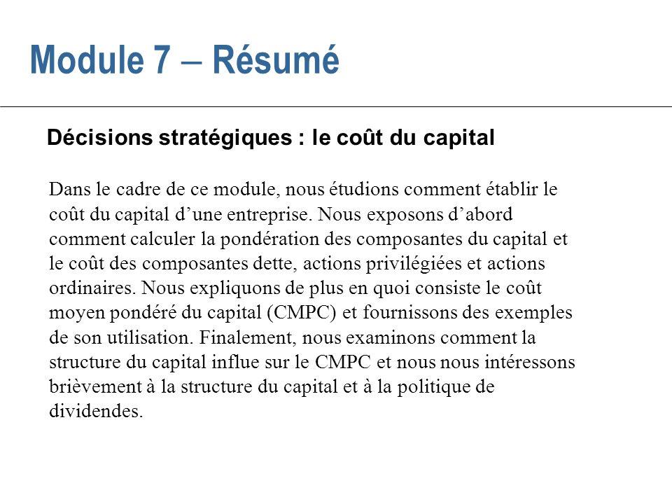 Décisions stratégiques : le coût du capital