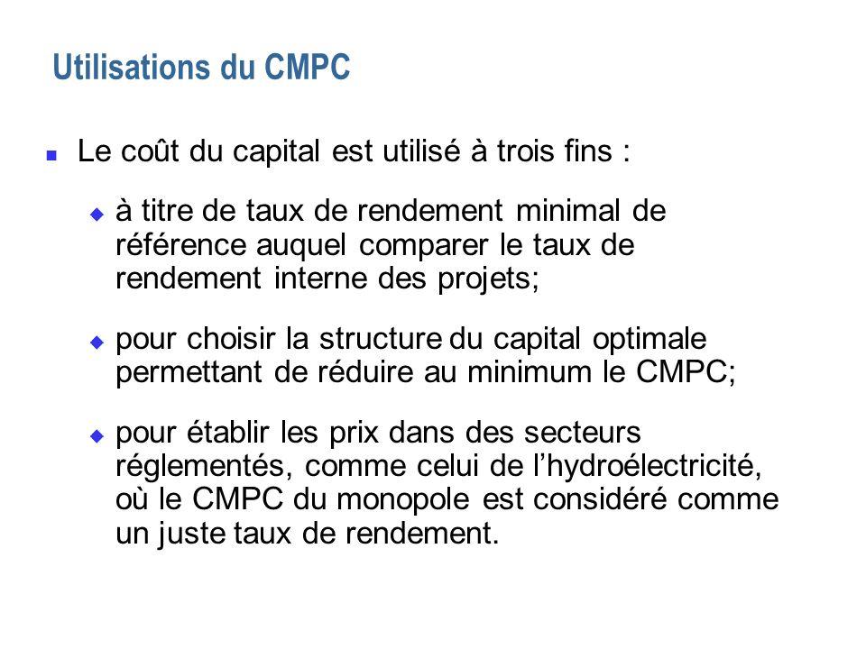 Utilisations du CMPC Le coût du capital est utilisé à trois fins :