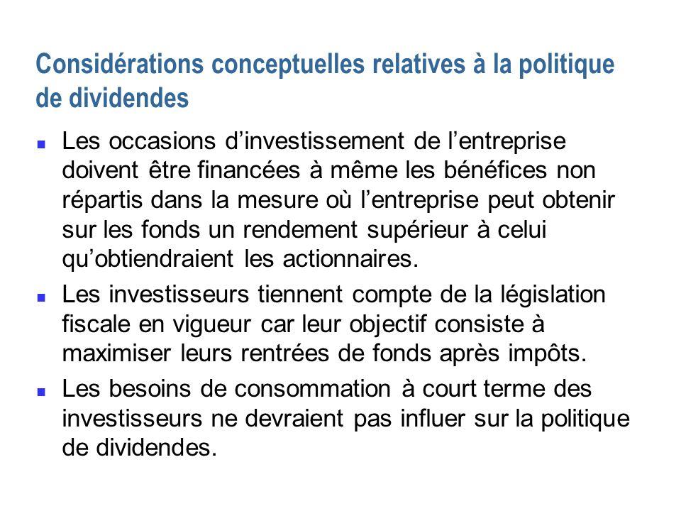 Considérations conceptuelles relatives à la politique de dividendes