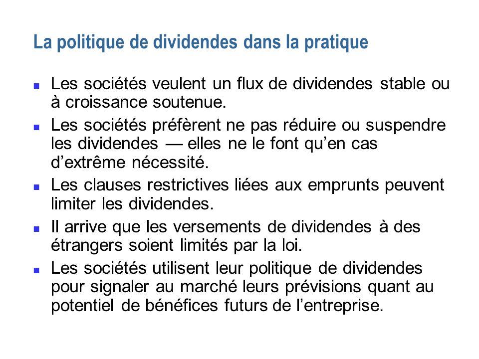 La politique de dividendes dans la pratique