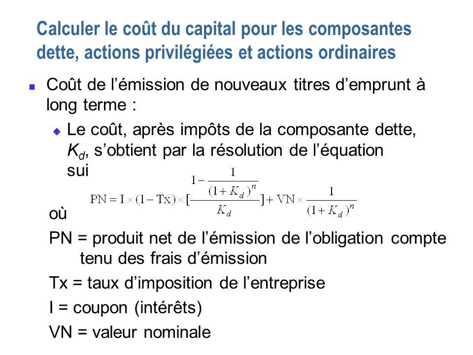 Calculer le coût du capital pour les composantes dette, actions privilégiées et actions ordinaires