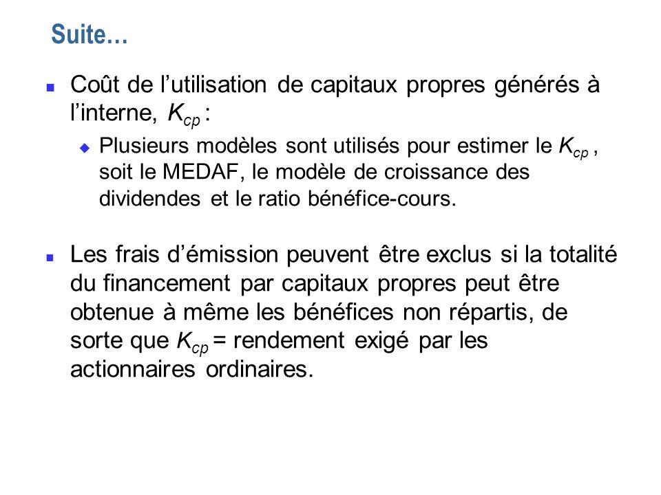 Suite… Coût de l'utilisation de capitaux propres générés à l'interne, Kcp :