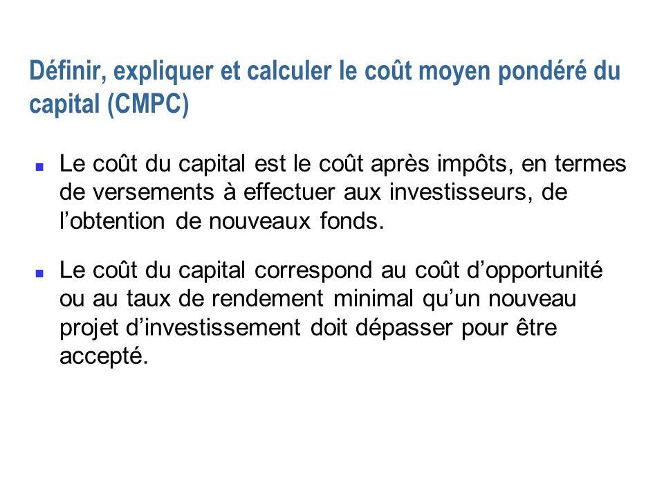 Définir, expliquer et calculer le coût moyen pondéré du capital (CMPC)