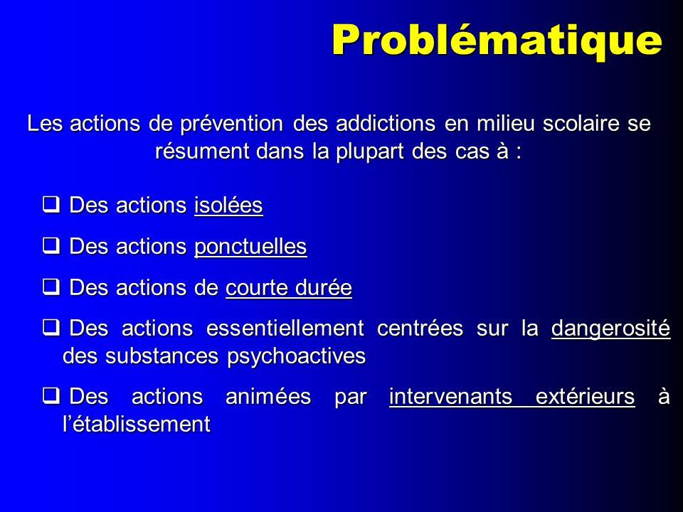 Problématique Les actions de prévention des addictions en milieu scolaire se résument dans la plupart des cas à :