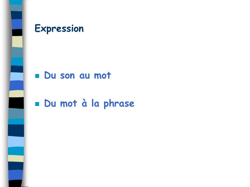Expression Du son au mot Du mot à la phrase