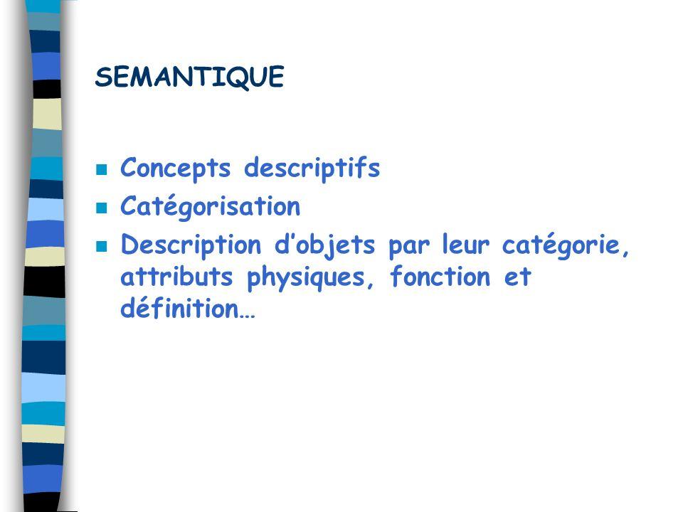 SEMANTIQUE Concepts descriptifs. Catégorisation.