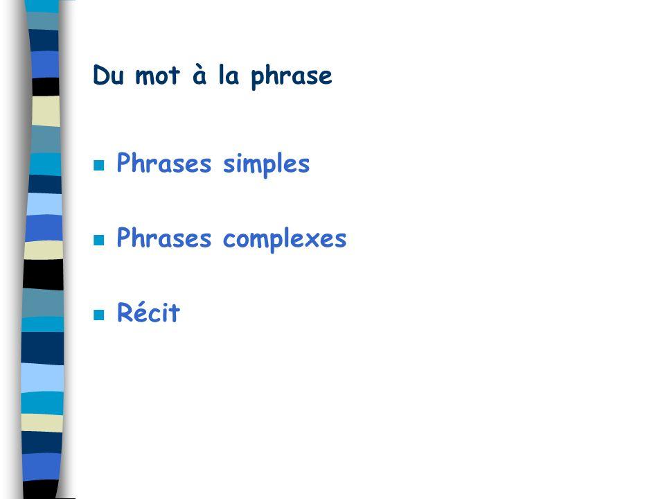 Du mot à la phrase Phrases simples Phrases complexes Récit