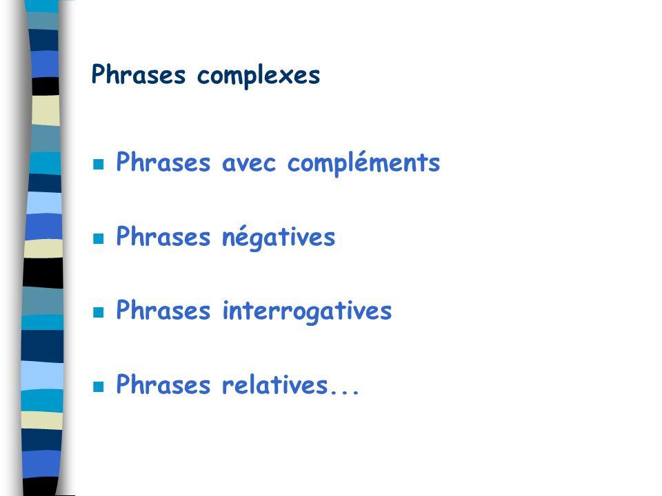 Phrases complexes Phrases avec compléments. Phrases négatives.