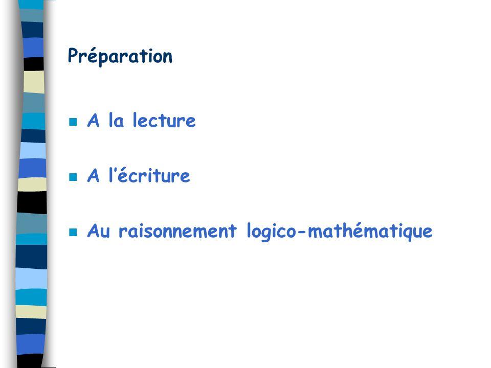 Préparation A la lecture A l'écriture Au raisonnement logico-mathématique