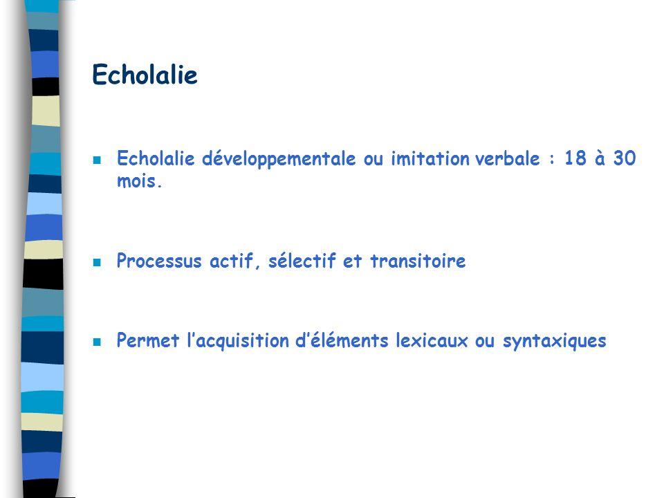 Echolalie Echolalie développementale ou imitation verbale : 18 à 30 mois. Processus actif, sélectif et transitoire.