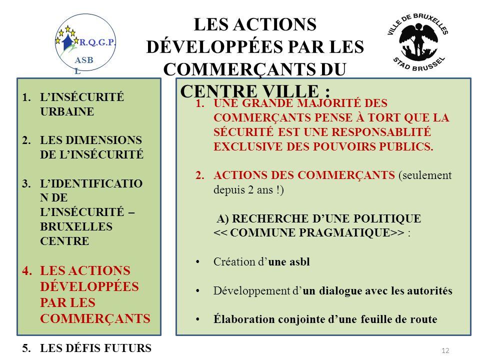 LES ACTIONS DÉVELOPPÉES PAR LES COMMERÇANTS DU CENTRE VILLE :