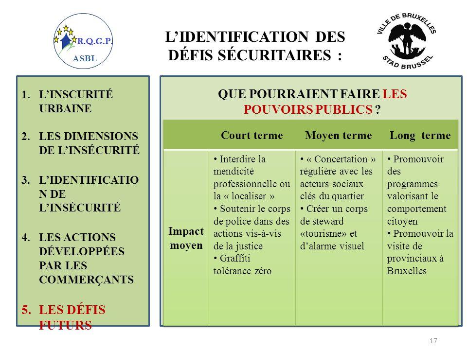 L'IDENTIFICATION DES DÉFIS SÉCURITAIRES :