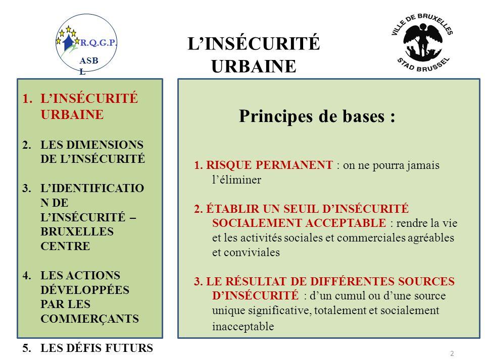 L'INSÉCURITÉ URBAINE Principes de bases :