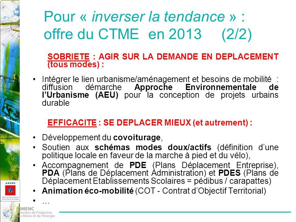 Pour « inverser la tendance » : offre du CTME en 2013 (2/2)