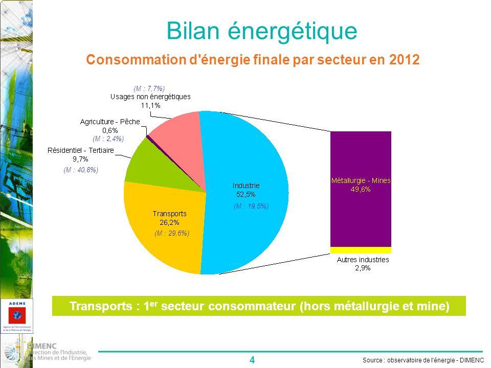 Bilan énergétique Consommation d énergie finale par secteur en 2012