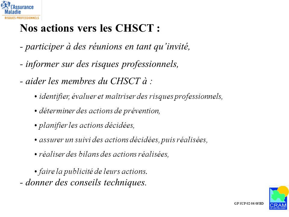 Nos actions vers les CHSCT :