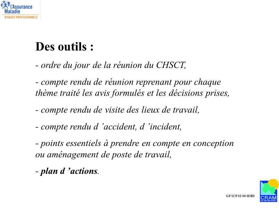 Des outils : - ordre du jour de la réunion du CHSCT,