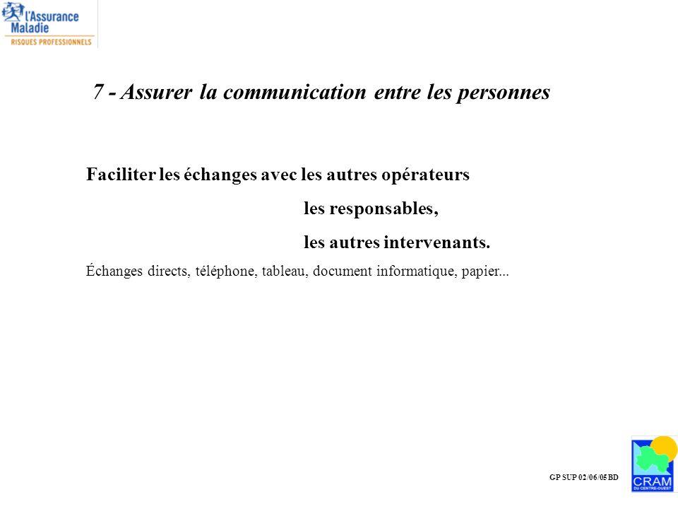 7 - Assurer la communication entre les personnes
