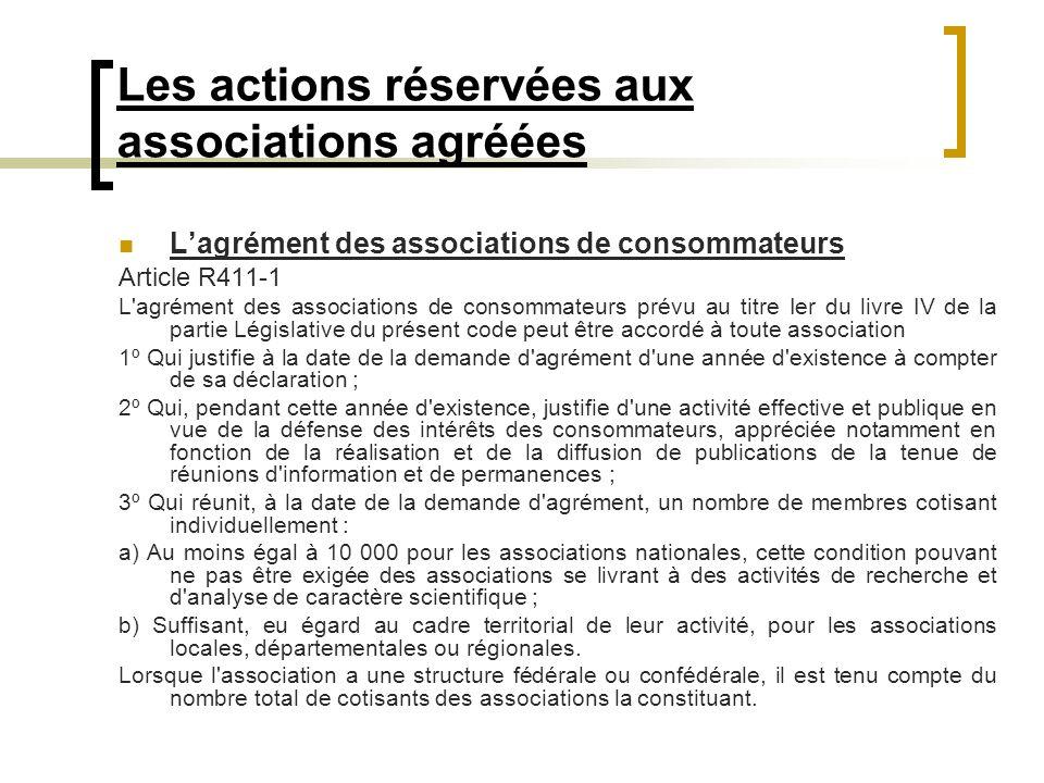 Les actions réservées aux associations agréées