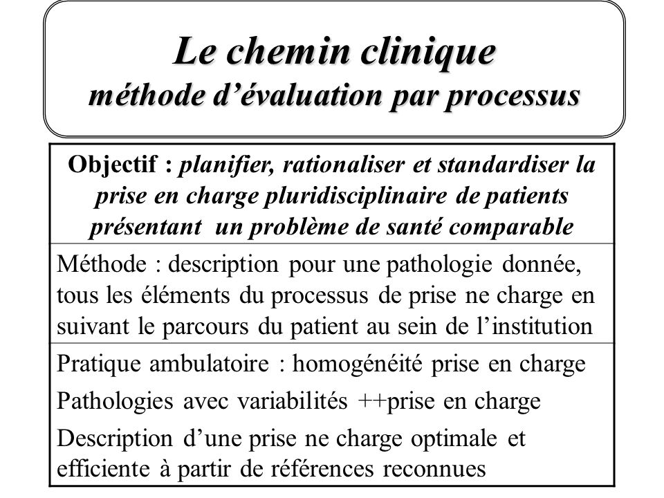 Le chemin clinique méthode d'évaluation par processus