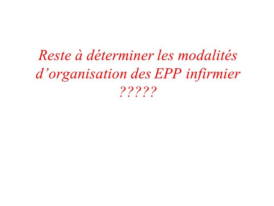 Reste à déterminer les modalités d'organisation des EPP infirmier